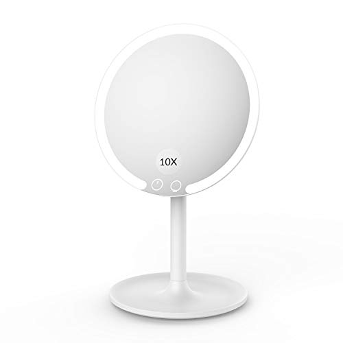 EASEHOLD Kosmetikspiegel mit Beleuchtung 10 Fach Vergrößsung und Akku Schminkspiegel mit 3 Beleuchtungseinstellungen Licht Make Up Spiegel Via Touch-Screen und 90° Schwenkbar