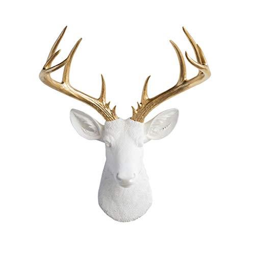 Near & Deer ND0108 Faux Taxidermy 14 Point Deer Head Wall Mount, White/Gold