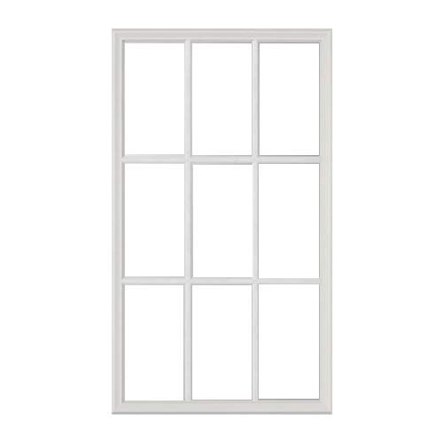 "ODL Exterior Door Glass Replacement – Home Improvement - Entry Door Inserts Glass Kit with Low-E Double Pane Tempered Clear Glass - 9 Light External Grille - 24"" x 38"""