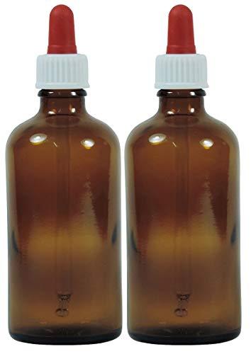 Viva Haushaltswaren - 2 x Pipettenflasche 100 ml aus Braunglas, kleine Glasgefäße als Apothekerflaschen zum Befüllen verwendbar -Made in Germany & BPA frei (inkl. 2 Beschriftungsetiketten)