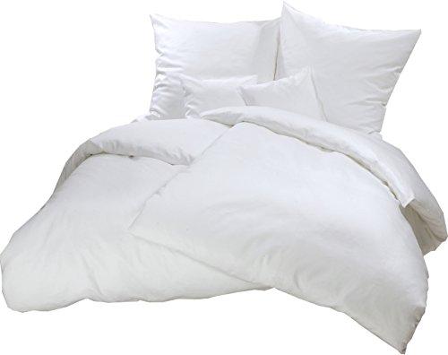 Carpe Sonno kuschelige Feinbiberbettwäsche 200 x 220 cm einfarbig weiße Winter-Bettwäsche mit Reißverschluss aus 100% Baumwolle Flanell - 3-TLG Bettwäsche Set mit 2 Kopfkissenbezügen