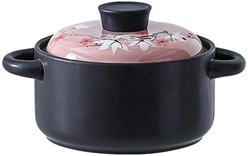 HLZY Plato de cazuela con Tapa, sartenes de Cocina Pote de Tierra de Caza de cerámica Antiadherente, Olla de Sopa Resistente al Calor, Olla de Sopa Caliente con Tapa de glaseado de Colores
