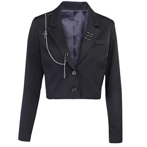 ZOSYNS Giacca corta da donna primaverile alla moda taglio a maniche lunghe Blazer classico giacca S-L Nero S