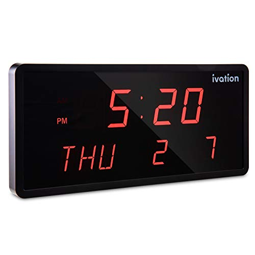 Ivation Big Oversized Digital Blue LED Calendar Clock with Day and Date - Shelf or Wall Mount (12 inches - Red LED)