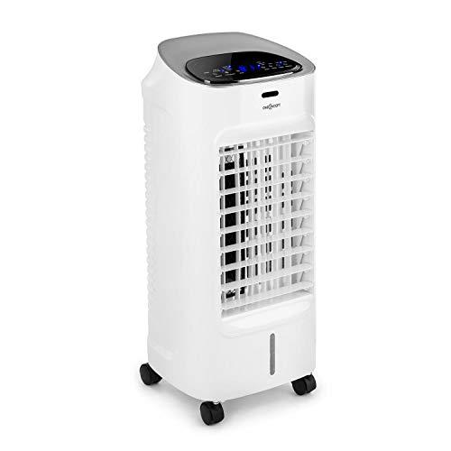 oneConcept Coolster - 4-in-1-Luftkühler: Ventilator, Ionisator, Luftbefeuchter, 60 W, Luftstrom: 320 m³/h, 3 Luftstromgeschwindigkeiten, 4 Liter Wassertank, Timer, leise, silber-weiß