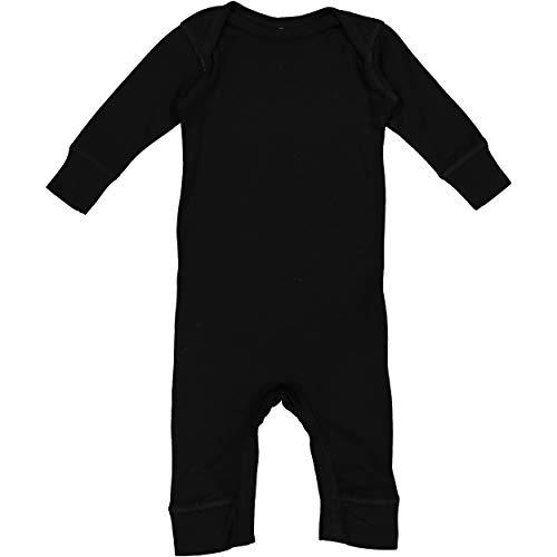 RABBIT SKINS Infant Long Legged Baby Rib Bodysuit Coverall, Black, 12 Months