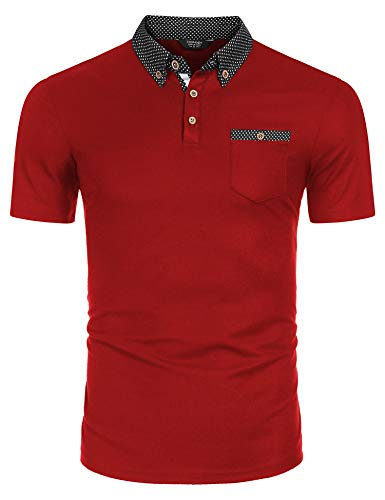 COOFANDY Herren Polohemd Kurzarm Slim Fit Poloshirt Einfarbig Freizeit Polo Shirts Polo Kragen