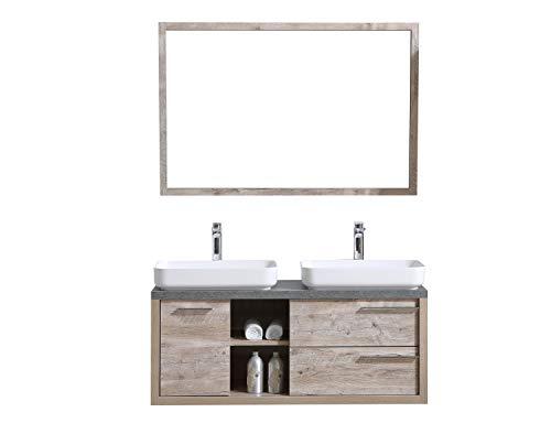 Badezimmer Badmöbel Vermont 120 cm Nature Wood - Unterschrank Schrank Waschbecken Waschtisch Spiegel