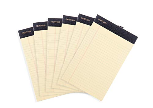 Mintra Office Legal Pads - ((PREMIUM CANARY 6pk, 5in x 8in, NARROW RULED)) - 50 Sheets per Notepad, Micro perforated Writing Pad, Notebook Paper for School, College, Office, Professional