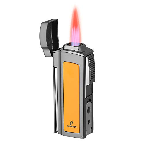 PIPITA Windproof Cigar Lighter Torch Metal Gas Cigarette Butane Lighter Jet Quad Blue Flame Refillable Lighter with Two Punch