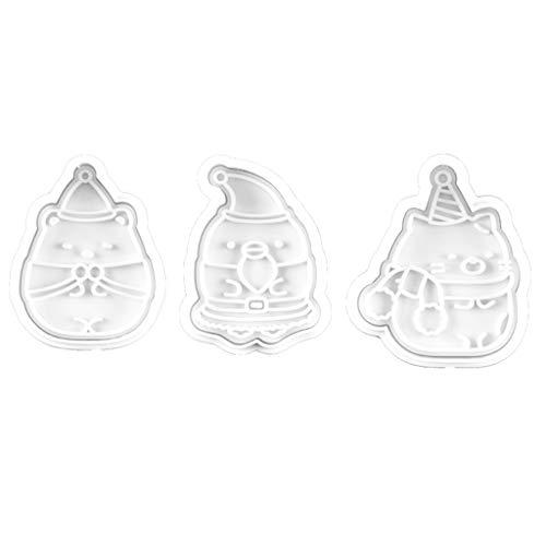 VEED 3pcs / Set Weihnachten 3D Santa Schneemann Frühling Pressing Cookie Mold Cutter Backen