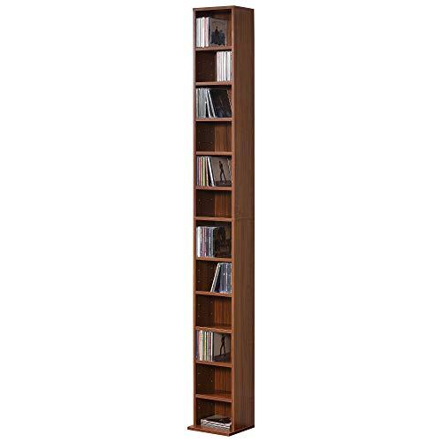 [en.casa] Estante para CDs Soporte para DVDs 175 x 20 x 20 cm Librería con 12 compartimientos Color Nogal