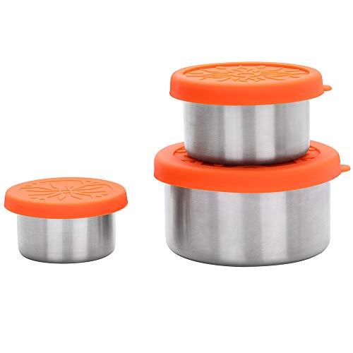 Pequeña Fiambrera Set de 3 con Tapa de Silicona, Recipientes de Acero Inoxidable para Almacenamiento de la Comida, Prueba de Fugas Contenedor para Dressing y Salsas y Frutos Secos y Tentempiés