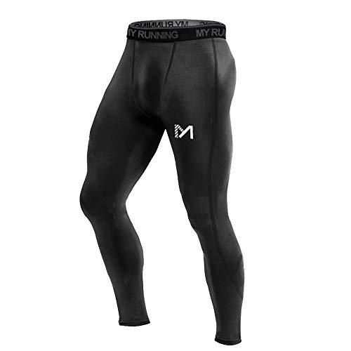 MEETYOO Leggings Uomo, Calzamaglie Sportive Pantaloni Fitness Compressione Baselayer per Jogging Ciclismo Running (Nero-1, XL)