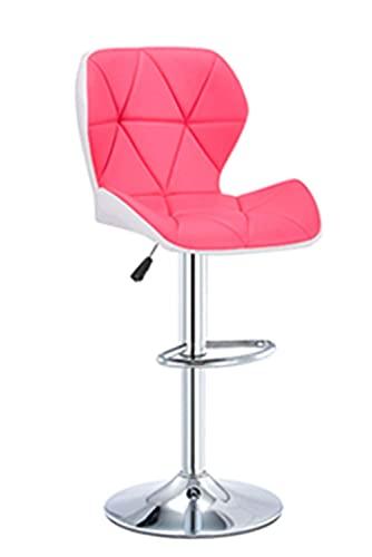 QLIGAH Taburetes de bar para silla giratoria con altura ajustable de 360 ° giratorio con respaldo y reposapiés, Beau Salon peluquería manicura