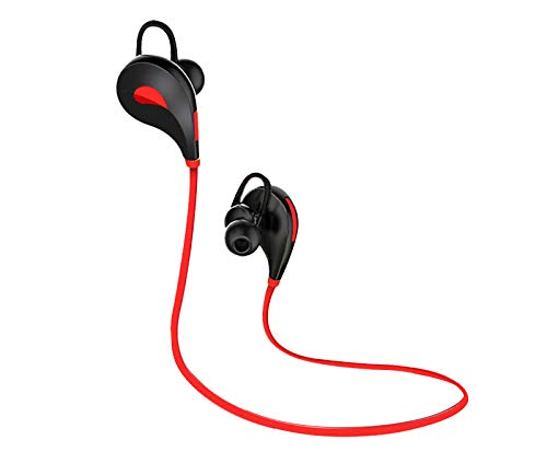 Shot Case Auriculares Bluetooth Deportivos para Motorola Moto G7 Power inalámbricos con botón de Sonido, Kit Manos Libres intrauditivos Universal (Rojo)