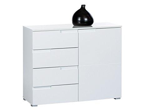Avanti Trendstore - Spice - Kommode weiß Hochglanz mit 4 Schubkästen und 1 Tür, ca. 100x80x40cm (Weiß)