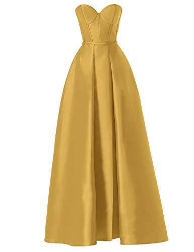 Abendkleider Damen Lang Ballkleider Hochzeitskleider Satin A-Linie Brautkleider Prinzessin Festkleider Rückenfrei Gold 50