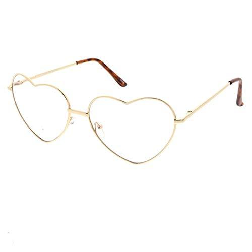 Fashion Culture Metal Heart Frame Blue Light Filter Glasses (Gold)