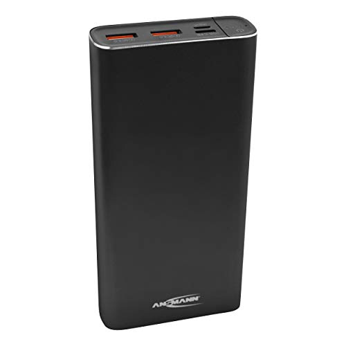 ANSMANN Powerbank 20000mAh PD & Quick Charge 3.0 - Fast Charge Power Bank (2x USB & 1x Typ C) Ladegerät mit LED Anzeige für Smartphone Tablet Laptop - Externer Akku