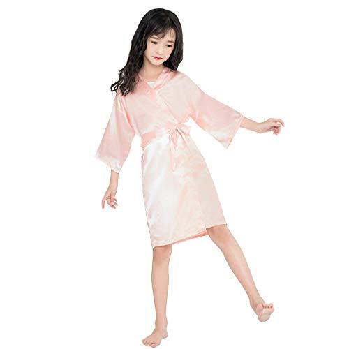 Baby Jongens Meisjes Zijde Robes Badjas Peuter Kinderen Effen Satijn Kimono Dressing Pyjama Gown Zachte Badjas Unisex Slaapmode Huiskleding Kleding Kinderen Poncho Douche Gift 1-9 Jaar