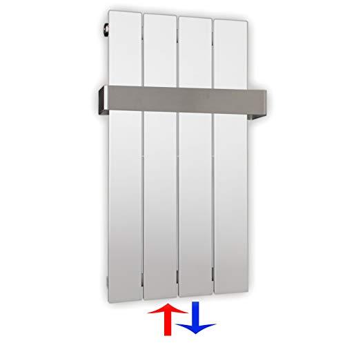 Design Paneelheizkörper Heizkörper Badheizkörper mit Mittelanschluss Handtuchstange Edelstahl alle Größen (0600 x 298, Weiß) (196 Watt nach EN442)