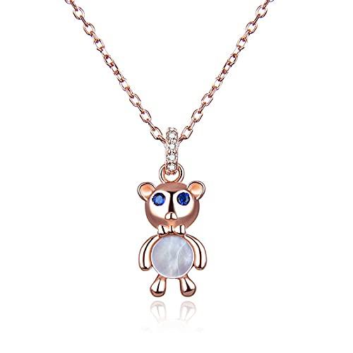 Versión coreana de S925 collar nuevo de plata estándar lindo oso de la suerte colgante de circón dulce collar de diamantes de concha femenina-Oro rosa