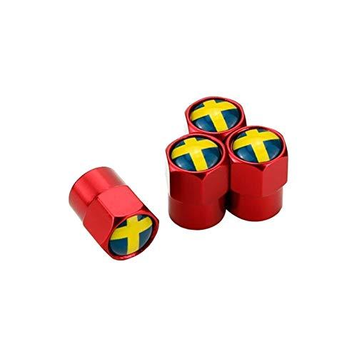 Nueva tapa de válvula Los casquillos del vástago de válvula del neumático de la rueda 4PCS for el logotipo de la bandera de Suecia Volvo V40 V50 V60 V70 S40 S60 S70 S80 S90 S60L XC40 XC60 XC70 XC80 XC