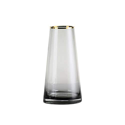 PUCHIKA Vase Glas Blumenvase, Modern Vase für Zuhause und Hochzeit, Kaltgrün Tischvase für Pflanzen, Tischdeko, Höhe 25cm, Ø13cm.