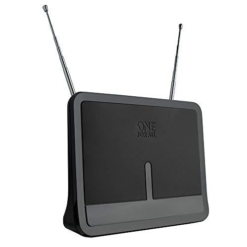Antena Interna Amplificada de 42 dB FM, VHF, UHF e ISDB-T, One for all, Preto/Cinza, One for all, SV9424, Preto/Cinza