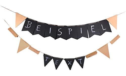 Girlande mit Kreide zum selbst beschriften Schwarz + Natur, Flagge & Wimpel individuell gestaltbar für Geburtstag Party Feier Jubiläum Willkommen Freitext