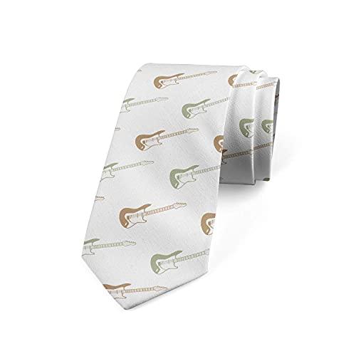 Tcerlcir Corbata Para Hombre Guitarras De Diseño Diagonal, Poliéster Blanco Y Verde Camel Corbata Clásica De Negocios Para Bodas