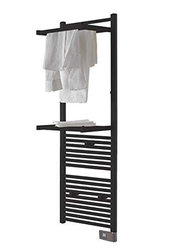 DELTACALOR - Toallero eléctrico de baño, Calientatoallas Radiador Papillon 2 Negro, 750...