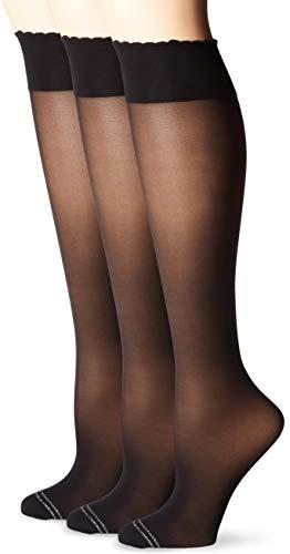 HUE Women's Graduated Compression Knee Hi Socks 3 Pair Pack, Assorted, sheer/black, One Size