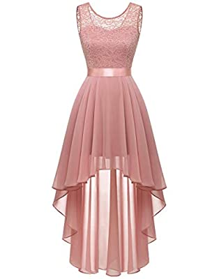 BeryLove Women's Floral Lace Chiffon Formal Party Dress Hi-Lo Bridesmaid Dress 35Blush2XL