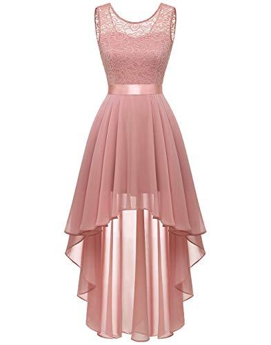 BeryLove Damen Elegant Abendkleid Vokuhila Cocktailkleid Brautjungfer Kleid Spitzenkleid Weihnachtskleid BLP7035 Blush S