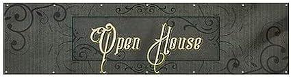 Victorian Frame Wind-Resistant Outdoor Mesh Vinyl Banner 16x4 Open House CGSignLab