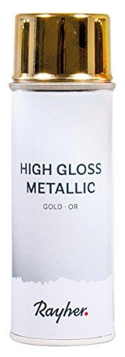 Rayher 34424616 High gloss Metallic Spray, gold, Dose 200 ml, hochglänzender Metallic-Effektspray, Acrylspray für Metalleffekte, für den Innenbereich