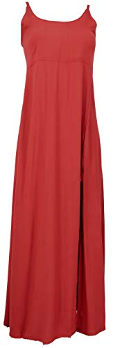 Guru-Shop, Zomerjurk, Boho Maxi Jurk met Split, Zwart, Synthetisch, Size:12, Lange Midi-jurken