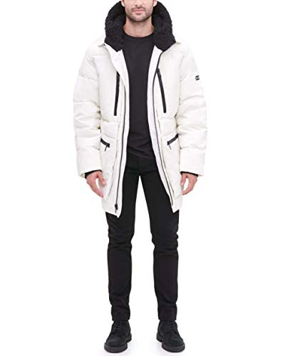 DKNY Men's Ultra Loft Full Length Quilted Parka with Sherpa Lined Hood, Ice, Medium