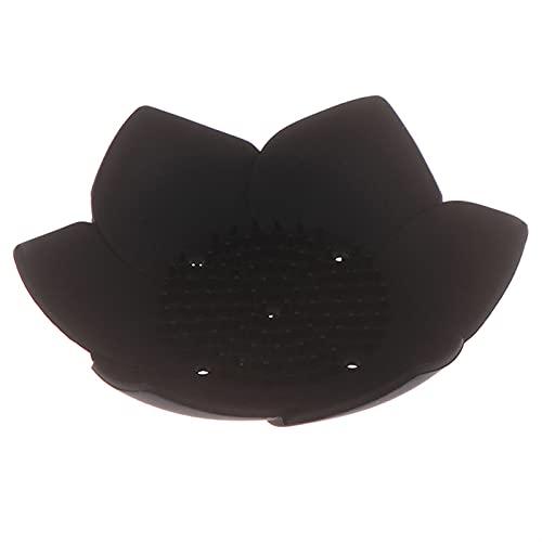 YILAHUAN Caja de jabón 1 UNID SILICONO DRAING Soon JAPA Japon Placa Placa Placa DE Lote Forma de Loto Platos de jabón portátiles Antideslizantes Bandeja de jabón Accesorios de baño (Color : Black)