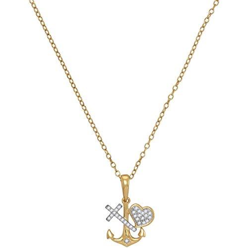 Collier avec Pendentif en Or Jaune et de Diamants en forme de Coeur - 0