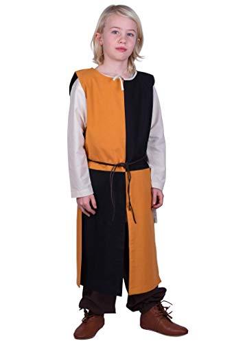 Battle-Merchant Lucas - surcotto Medievale da Bambino - Ideale per Costume da Cavaliere o Giochi di Ruolo dal Vivo (Larp) - Giallo/Nero - 6-8 Anni