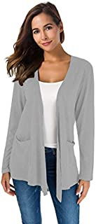 TownCat Women's Loose Casual Long Sleeved Open Front Breathable Cardigans with Pocket