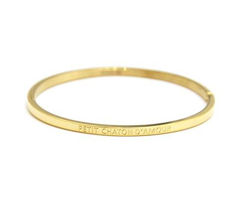 Oh My Shop BC3551F - Bracciale rigido rigido sottile in acciaio dorato con messaggio piccolo gattino d'amore