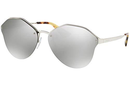 Prada Frau PR64TS Sonnenbrille w/Hellgrau Spiegel 66mm Objektiv 1BC2B0 SPR64T PR 64TS SPR 64T Silber groß