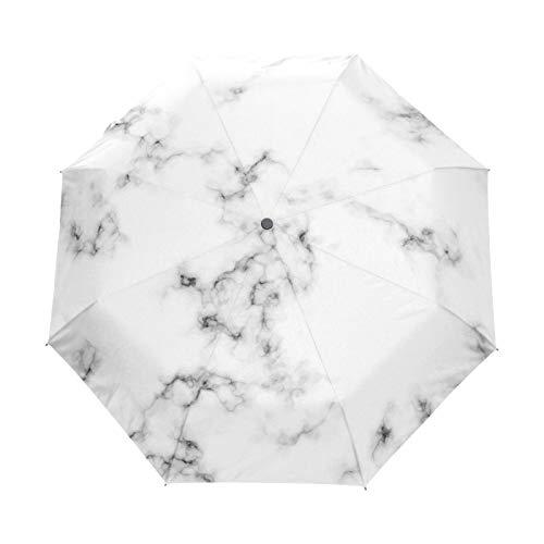 Kleiner Reiseschirm Winddicht Outdoor Regen Sonne UV Auto Compact 3-Fach Regenschirmabdeckung - Weiße Marmor Naturstein Textur