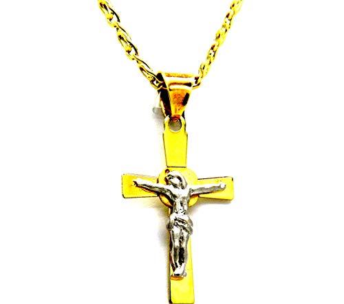 Collana da Uomo in Oro Giallo 18kt (750) Catena Pernice Cm 50 Pendente Croce Cristo Crocifisso Bicolore