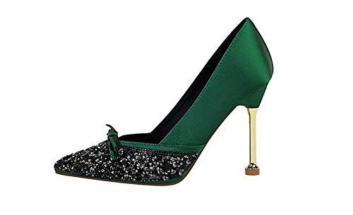 Professionelle OL High Heels für Frauen/Sexy Sandalen mit Metallabsatz/Spitzschuhe mit Paillettenschleife/Mehrfarbig 34-39,Grün,37