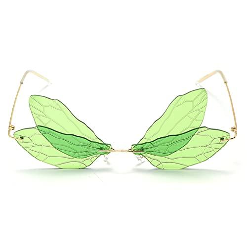 WOJING Gafas de Sol sin Montura de Moda Mujeres Vintage Dragonfly Steampunk Gafas de Sol Hombres Sin Marco Degradado Lente Clara Gafas